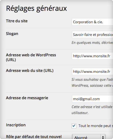 Administration WordPress — Réglages